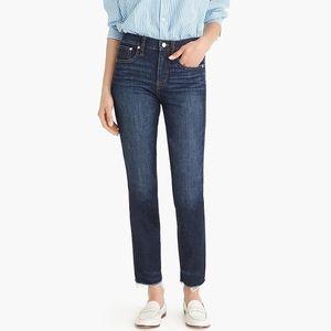 JCREW Vintage straight jean faded midnight raw hem